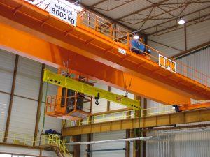 Handling crane in front of storage