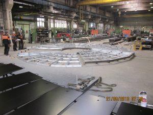 Pomocná hliníková plošina pre opravu turbíny