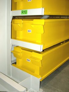 Detail of the cartridge storage on the rack