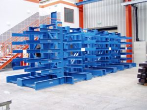 The shelf for steel sheets